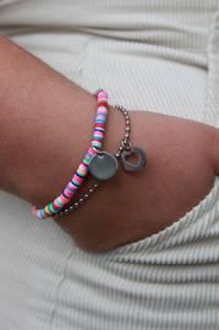 Bilde av Elastisk fargerikt armbånd+kulelenke med anheng