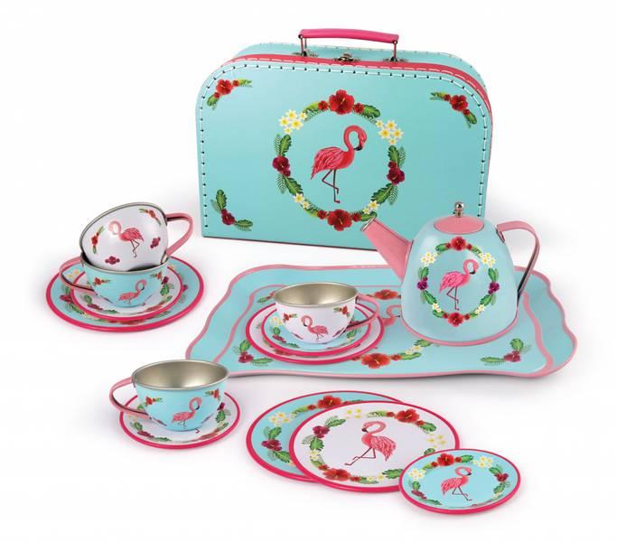 Tesett i koffert '' Flamingo '' i tinn, 15 stk.
