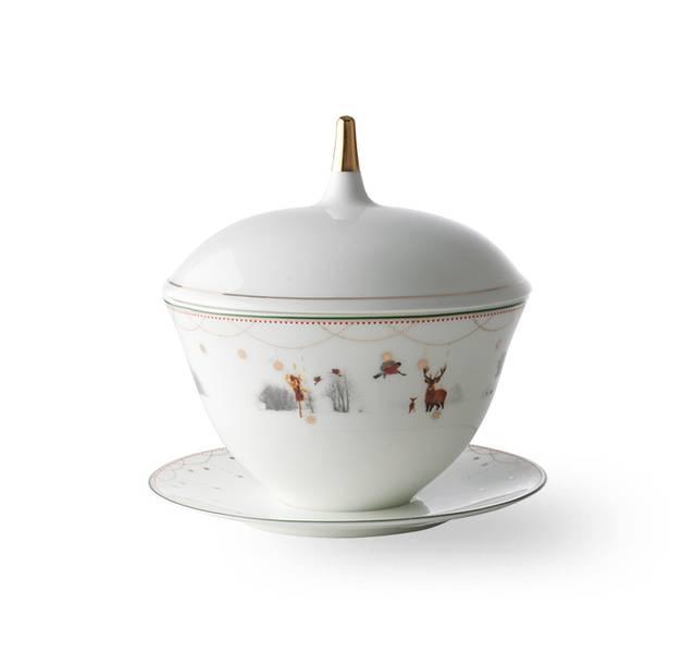 Sauseterrin med skål 14 cm - Julemorgen