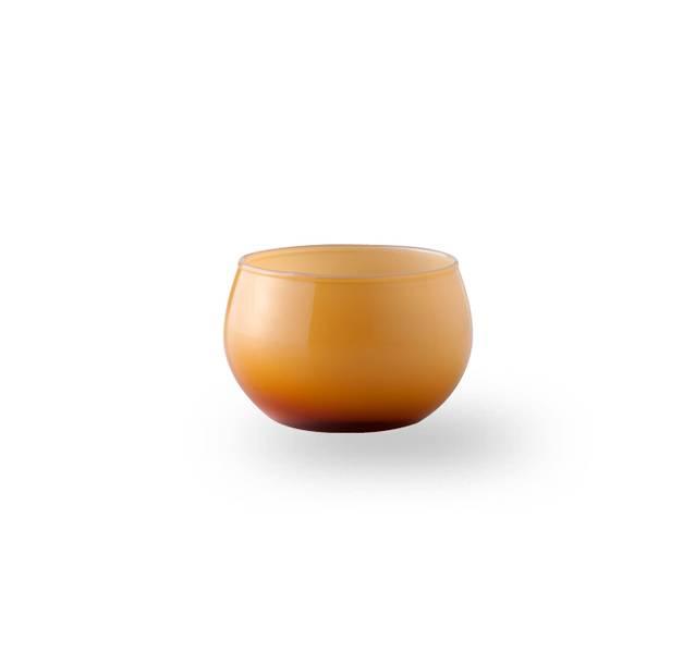Glass lyslykt - Falla gul/hvit