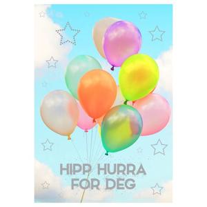 Bilde av Bursdagskort Hipp Hurra For Deg - Ballonger