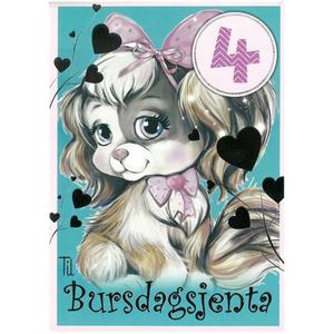 Bilde av Bursdagskort 4 År Jente - Hund