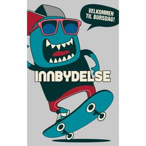 Bilde av Bursdagsinnbydelser Med Konvolutter - Skateboard
