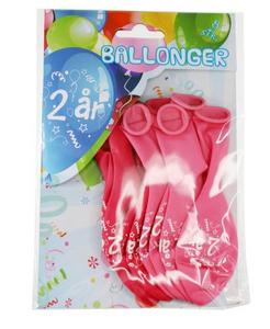 Bilde av Ballonger 2 År Rosa 8 Stk
