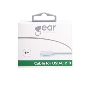 Bilde av GEAR Synkkabel USB-C 2.0 1m Hvit gen2 Rund Kabel
