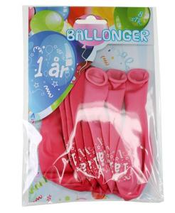 Bilde av Ballonger 1 År Rosa 8 Stk