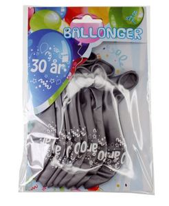 Bilde av Ballonger 30 År Sølv Metallic 8 Stk