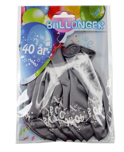 Bilde av Ballonger 40 År Sølv Metallic 8 Stk