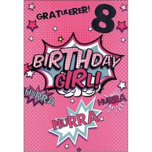 Bilde av Bursdagskort 8 År Jente - Birthday girl