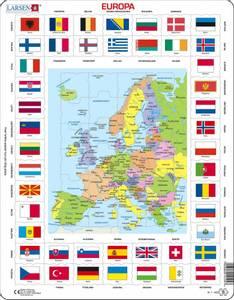 Bilde av PlatepusleKart Med Flagg/Land - Europa