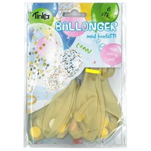 Bilde av Ballonger Med KonfettiRosa, Sølv Og Gull 6Stk