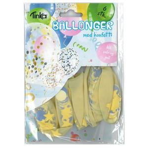 Bilde av Ballonger Med Konfetti Blå, Sølv Og Gull 6Stk