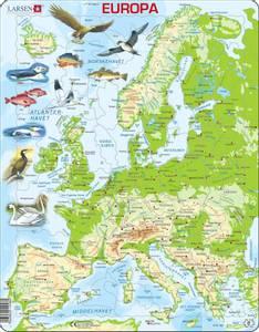 Bilde av Platepusle Kart - Europa Larsen (87 Brikker)