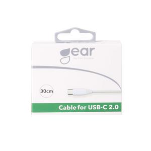 Bilde av GEAR Ladekabel USB-C 2.0 0.3m Hvit Rund Kabel