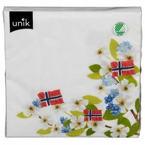 Bilde av 17. Mai Servietter Med 3 Flagg Og Blomster Unik