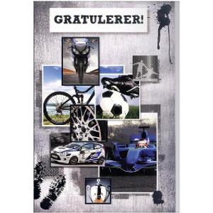 Bilde av Bursdagskort - Biler & Fotball
