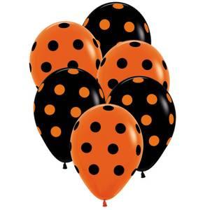 Bilde av Ballonger Svarte/Orange Prikker 6 stk