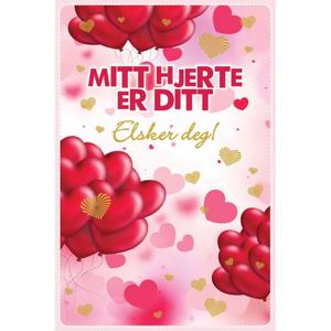 Bilde av Valentinekort Dobbelt Med Rød Konvolutt - Mitt