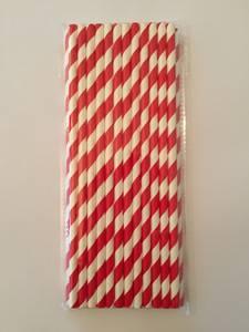 Bilde av Papirsugerør Røde Og Hvite Striper (25 STK)
