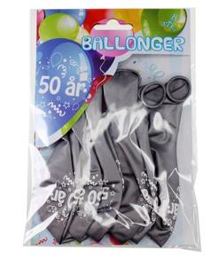 Bilde av Ballonger 50 År Sølv Metallic 8 Stk
