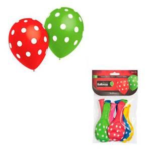 Bilde av Ballonger Assorterte Farger Med Prikker 8 stk