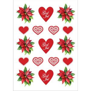 Bilde av Klistremerker Julestjerne, God Jul Hjerter Og