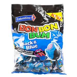 Bilde av COLOMBINA Bon Bon Bum Black & BlueLollipopsRaspberry Lemon m/t