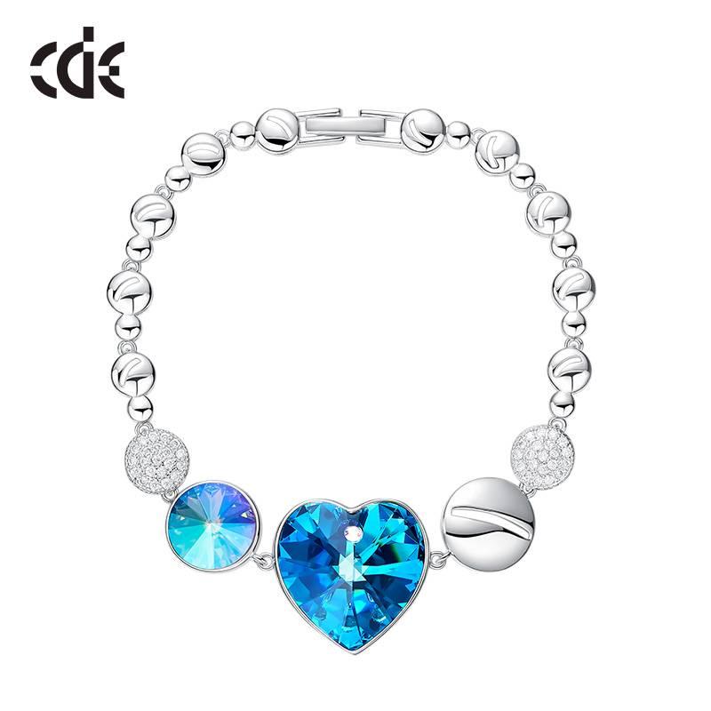 Bilde av CDE Armbånd Swarovski hjerte blå