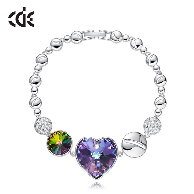 Bilde av CDE Armbånd Swarovski hjerte lilla