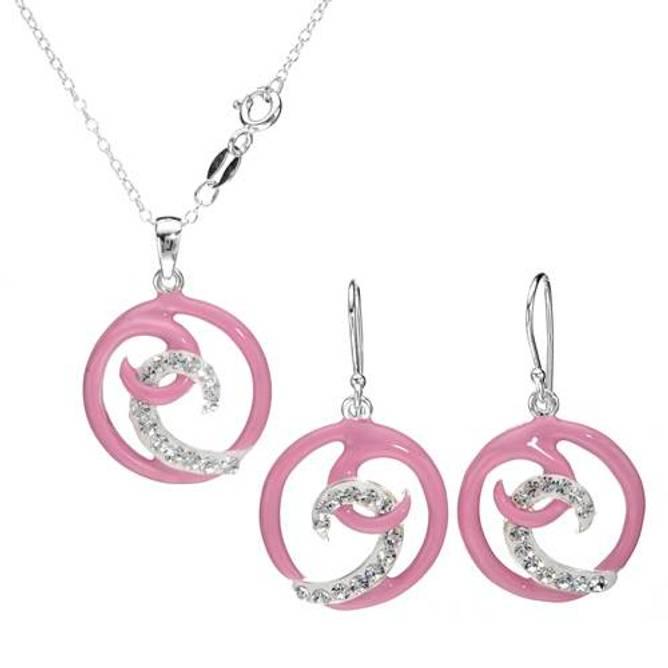 Bilde av Smykkesett, Rosa spiral