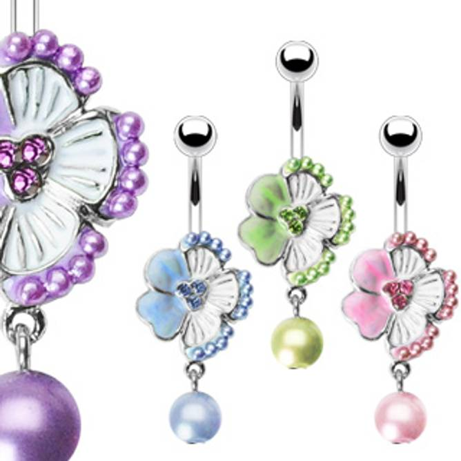 Bilde av Piercing, Blomst med perle