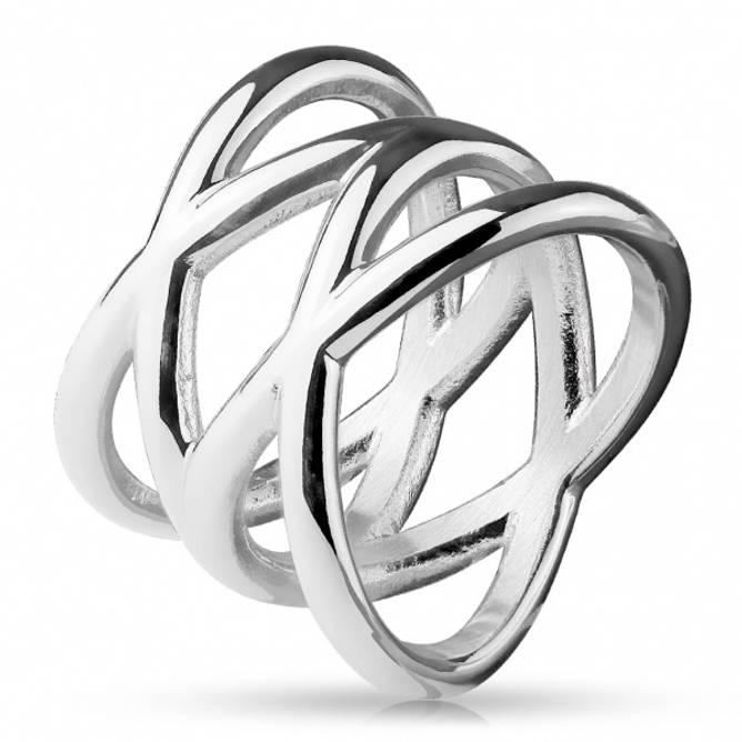 Bilde av Ring i stål Dobbel X