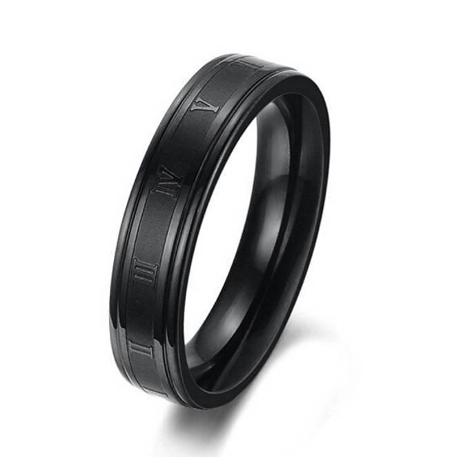 Bilde av Ring i stål. Sort med