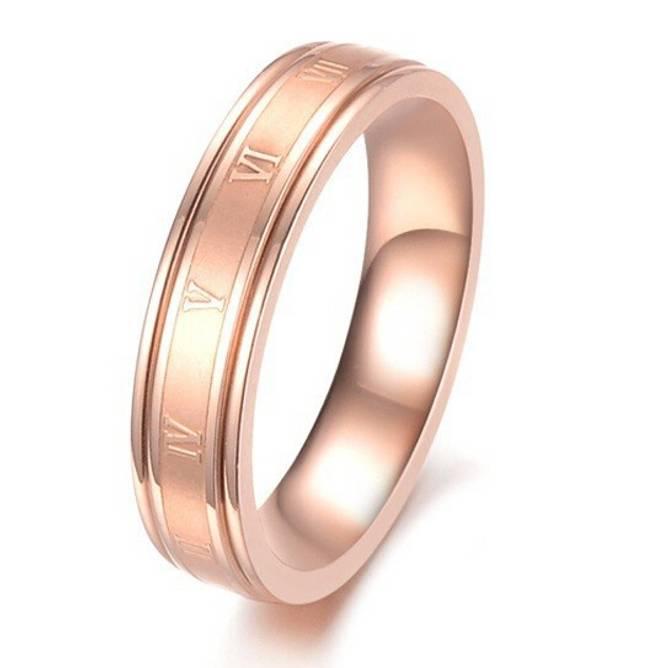 Bilde av Ring i stål rosegull med