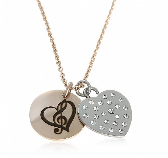 Bilde av Halskjede med musikk hjerte