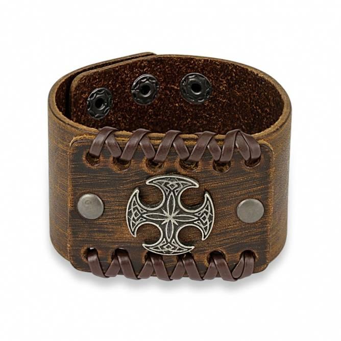 Bilde av Armbånd keltisk kors Brunt