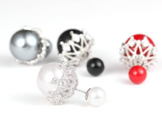 Bilde av Sølvøredobber med perle