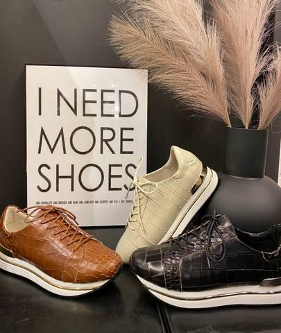 Bilde av Bibba Croco Sneakers Cognac / Beige / Sort
