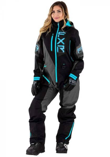 FXR Recruit Lite Monosuit 21 Black/Charcoal/Sky Blue